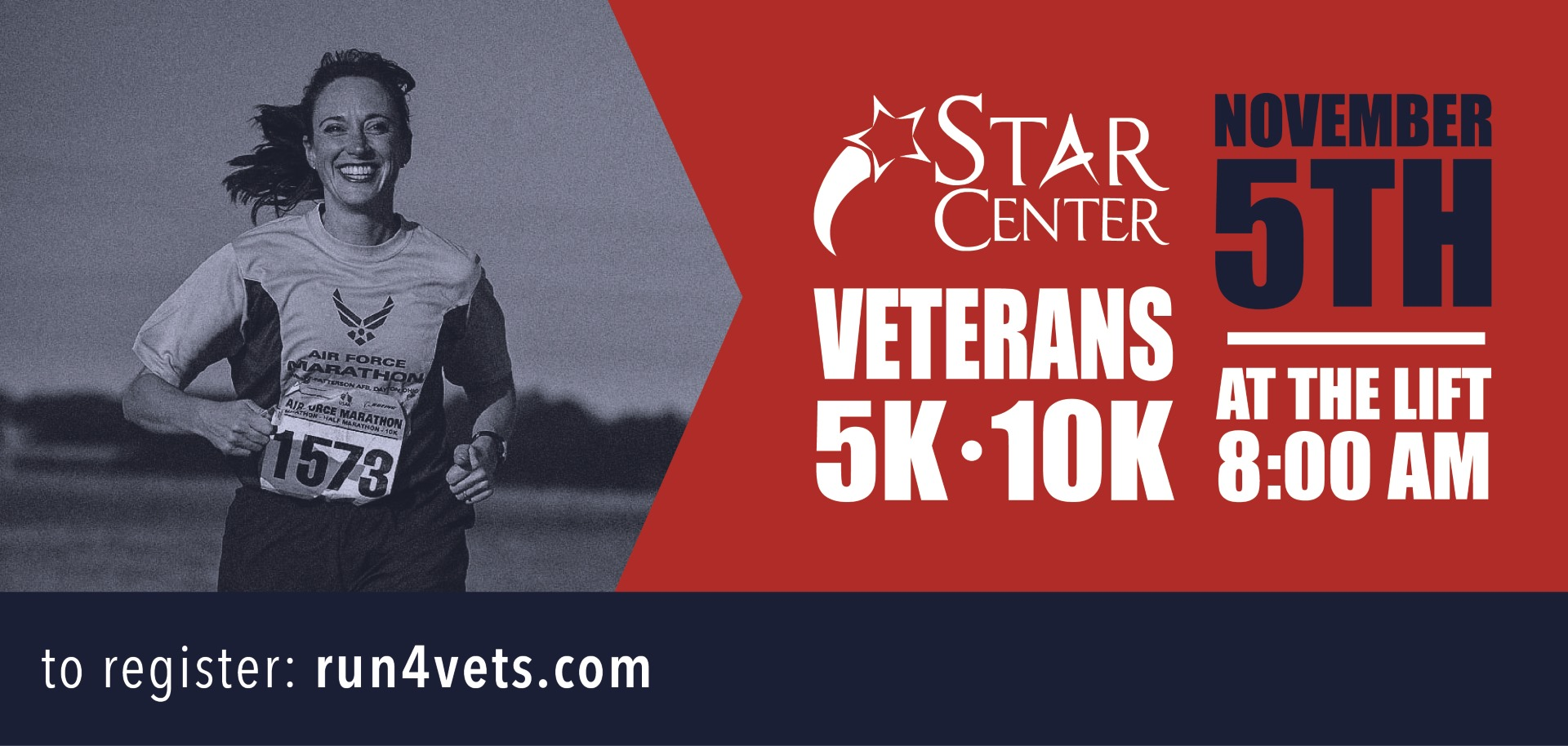 STAR Center Veterans 5K 10K November 5th at the Lift 8:00am to register: run4vets.com