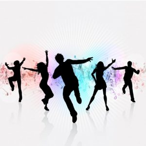 Music symbols in varied colors as background behind black silhouettes of 5 people dancing.