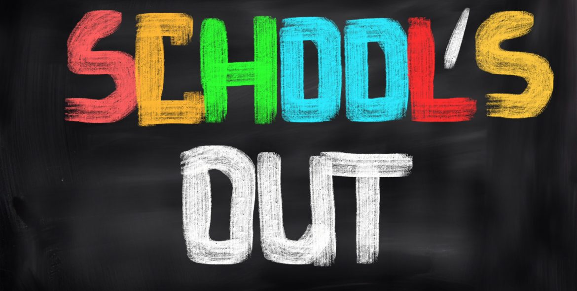 "black background with text ""School's Out"""