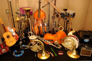 a variety of percussive, stringed, and brass instruments