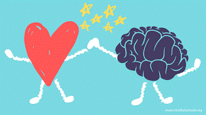 A red heart with white arms and legs holding hand with a purple brain with white arms and legs, with yellow stars above where their hands connect.