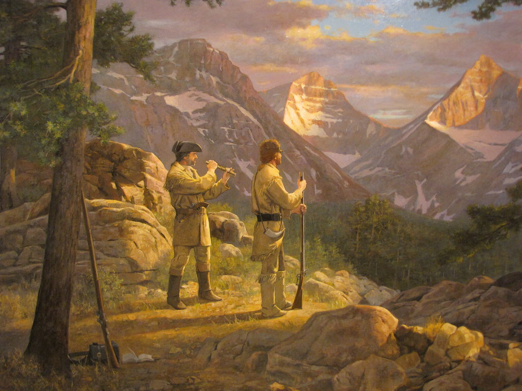 Opportunity for All painting of Lewis and Clark as they look out across the new land.